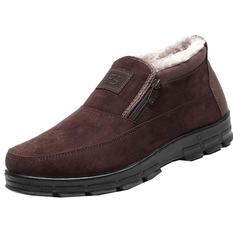 冬季中老年男士棉鞋加绒布鞋一脚蹬