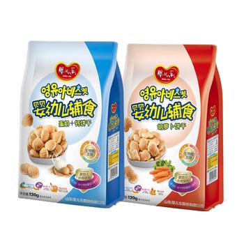 婴儿乐宝宝零食牛奶小馒头辅食婴儿营养儿童磨牙饼干婴幼儿2袋
