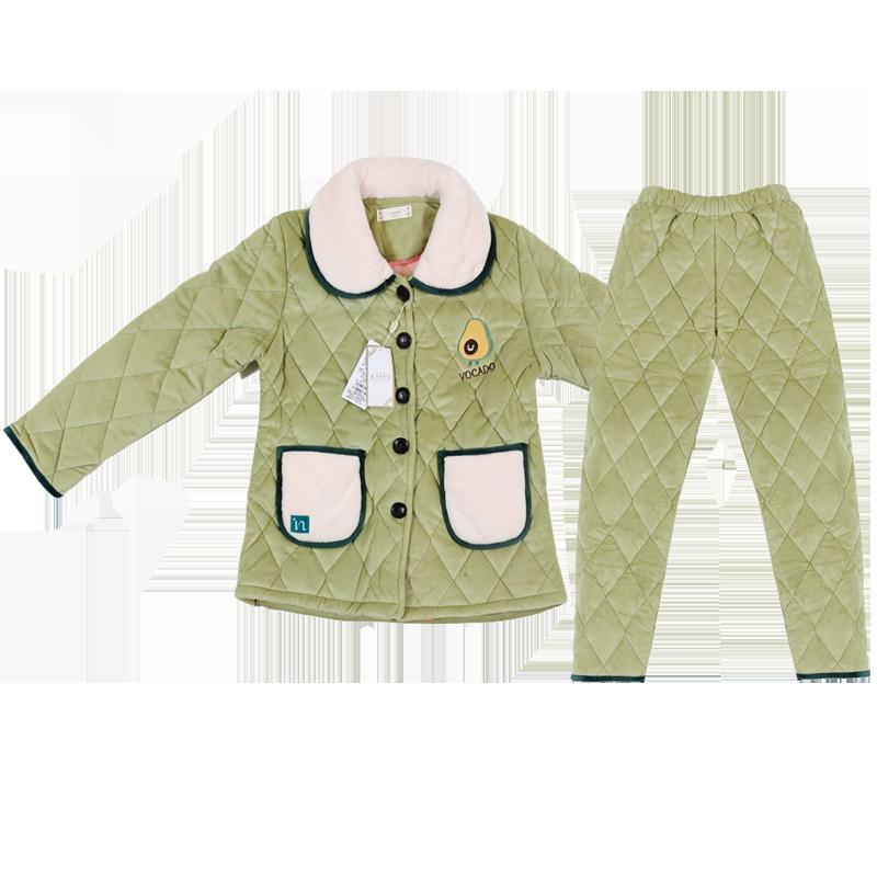 【艾莱季】珊瑚绒加厚秋冬睡衣两件套