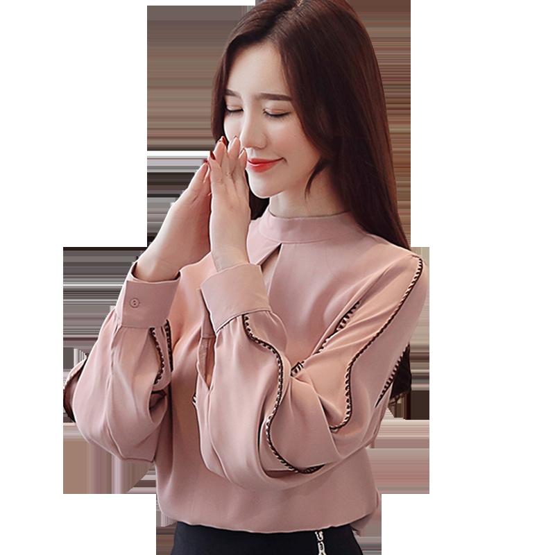 秋装2019年新款潮时尚立领长袖雪纺衫女装洋气质衬衫轻熟上衣初秋