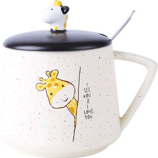 可愛陶瓷杯子女帶蓋勺馬克杯創意個性潮流水杯家用牛奶早餐咖啡杯