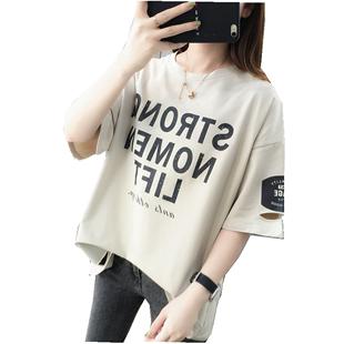 韓版寬鬆女士短袖T恤女裝2020年新款秋冬裝上衣服ins潮打底衫洋氣