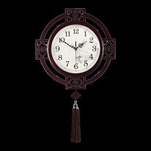 蔻安娜新中式掛鐘客廳中國風鐘錶創意家用時鐘家用時尚靜音木掛錶