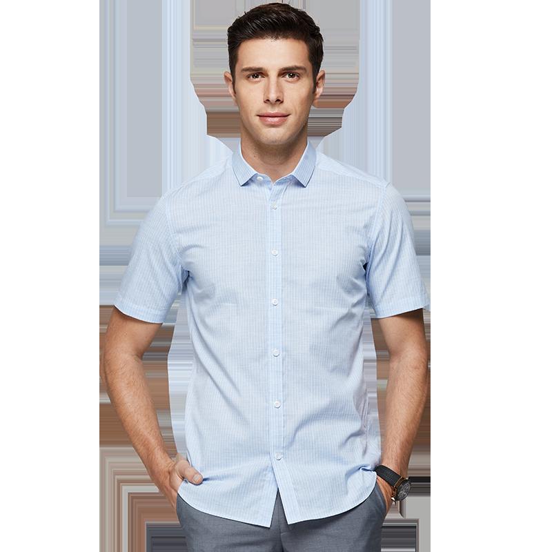 才子男装条纹方领短袖衬衫