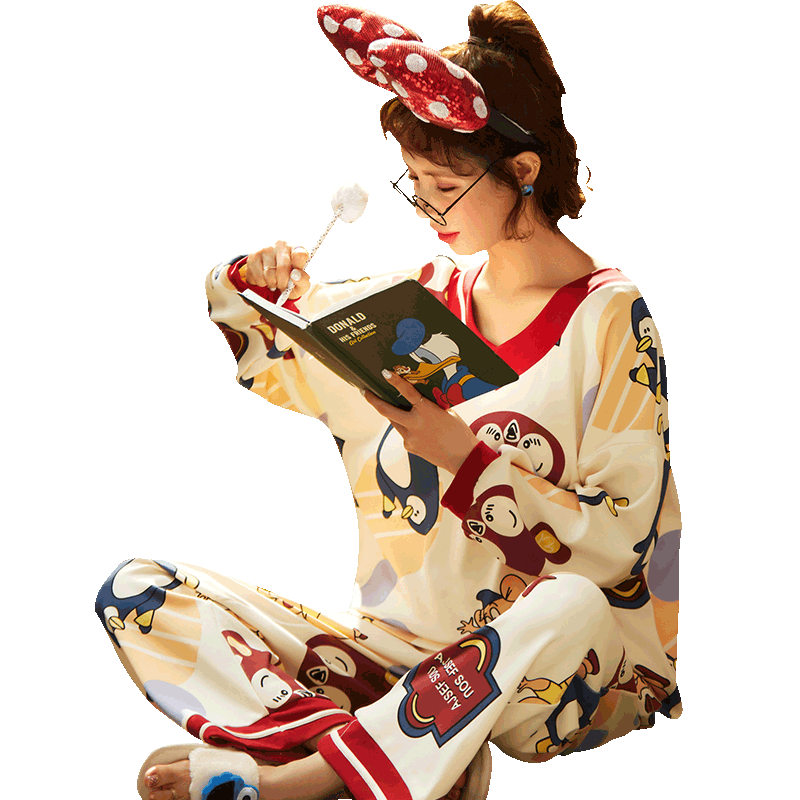 【新观兰旗舰店】秋款纯棉睡衣家居服两套装