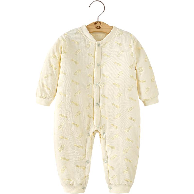 婴儿保暖哈衣夹棉潮服秋冬装纯棉男女童新生儿宝宝加厚加棉连体衣
