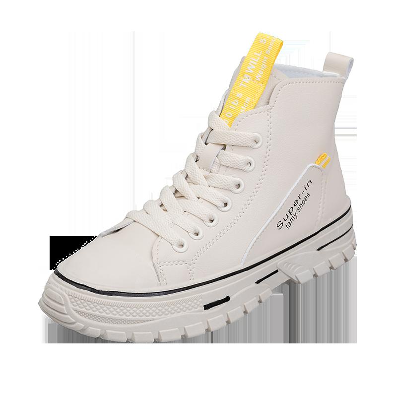 女靴2019秋季新款中跟厚底系带小白靴时尚马丁靴百搭短靴休闲裸靴