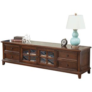 宜寶易森美式電視櫃客廳儲物櫃組合傢俱實木復古鄉村簡約地櫃