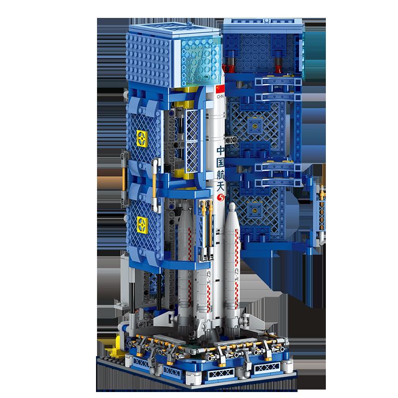 奥迪双钻中国航天长征五号运载火箭模型积木