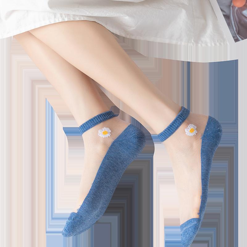 小雏菊袜子女ins潮夏天短袜浅口春夏季薄款玻璃丝袜女棉底水晶袜