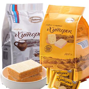 阿孔特俄羅斯小農莊威化餅乾進口巧克力味芝士牛奶酪冰淇淋零食品