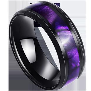 紫色男士日韩版个性钛钢潮人食指环