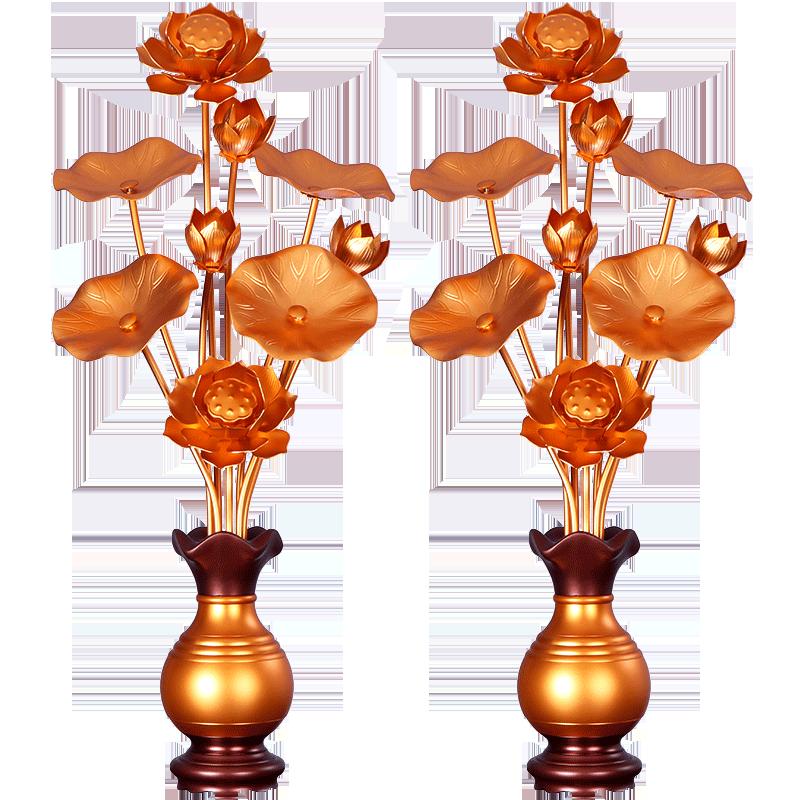假花仿真花束观音花瓶 供佛花仿真花 佛前供佛花瓶一对家用供奉