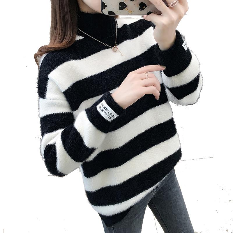 雪尼尔毛衣女士秋冬季外穿2020新款条纹针织衫仿水貂绒打底衫加厚