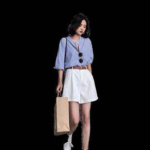 白色工裝短褲女夏天寬鬆a字休閒2020新款潮ins高腰外穿闊腿五分褲