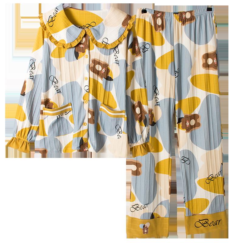 清野芙睡衣女春秋冬季纯棉大码长袖两件套厚款全可外穿家居服套装
