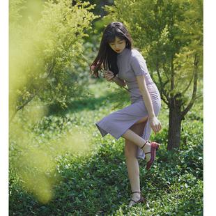 舊時光 time 改良版格子旗袍年輕款少女文藝連衣裙日常生活裝學生