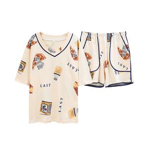 2021年新款夏季纯棉短袖可爱睡衣