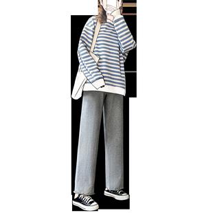 灰色闊腿褲女寬鬆高腰垂感春秋季百搭休閒褲子韓版顯瘦直筒運動褲