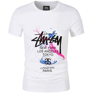stussy短袖T恤男女款2020夏季新款斯圖西潑墨圓領寬鬆短袖情侶款