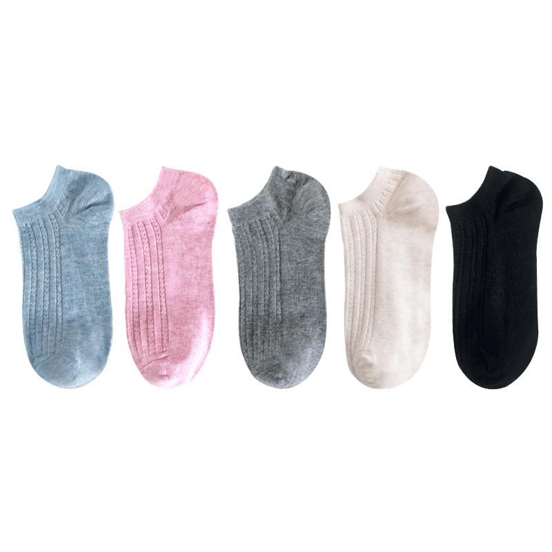 袜子女夏季薄款全棉船袜5双