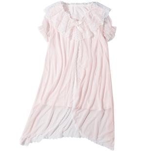 夏季女童睡裙網紗披風兒童公主連衣裙小女孩仙女裙子薄款短袖睡衣