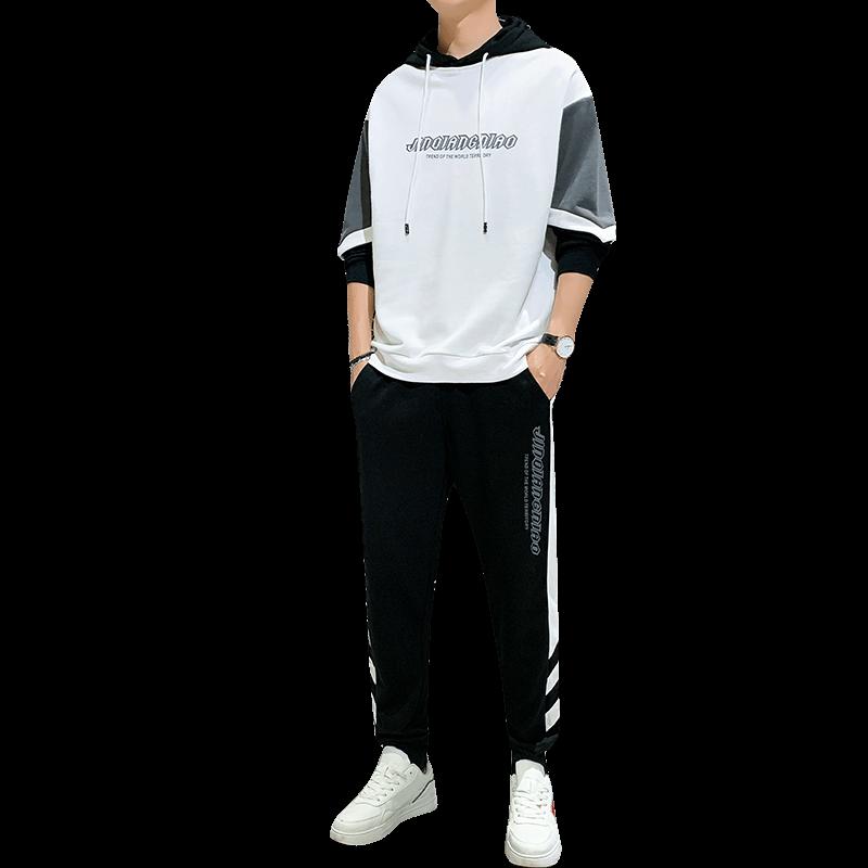 卫衣套装男韩版潮流帅气搭配两件套衣服春秋季2020新款休闲运动服