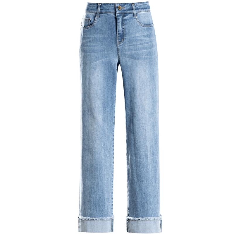九分牛仔裤女2020年新款直筒宽松高腰春夏显瘦阔腿裤卷边裤子垂感