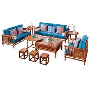 紅木傢俱刺蝟紫檀沙發茶几組合客廳新中式輕奢花梨木實木布藝沙發