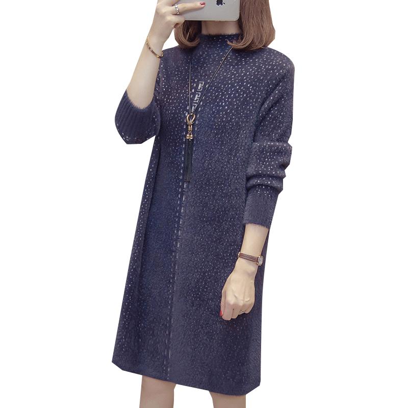 秋冬加厚仿水貂绒毛衣女2019新款针织打底衫中长款宽松半高领套头