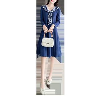 娃娃领针织连衣裙2019新款百褶裙