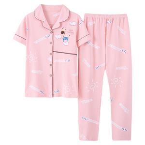 南极人2021年新款夏季纯棉短袖睡衣