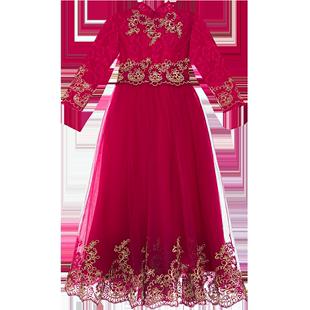 女童連衣裙2020年新款冬季洋氣蓬蓬紗冬裝兒童公主裙禮服秋冬裙子