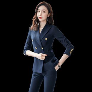 職業裝2020秋季西服套裝女高端ol正裝時尚氣質工服面試西裝工作服