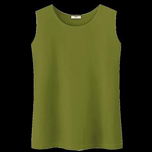 牛油果上衣抹茶綠韓版 直筒吊帶外穿小清新內搭寬鬆無袖背心t恤女