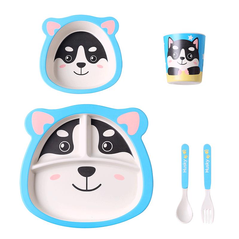 竹纤维儿童餐具吃饭辅食碗宝宝分格餐盘家用防摔卡通饭碗叉子勺子