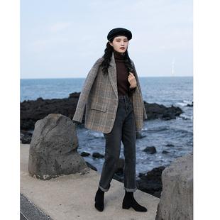 覓定毛呢格子西裝外套女秋冬短款小個子呢子大衣加厚2020新款冬季