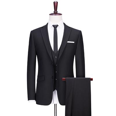 西装套装男黑色商务正装结婚礼服三件套修身上班职业装定制西服