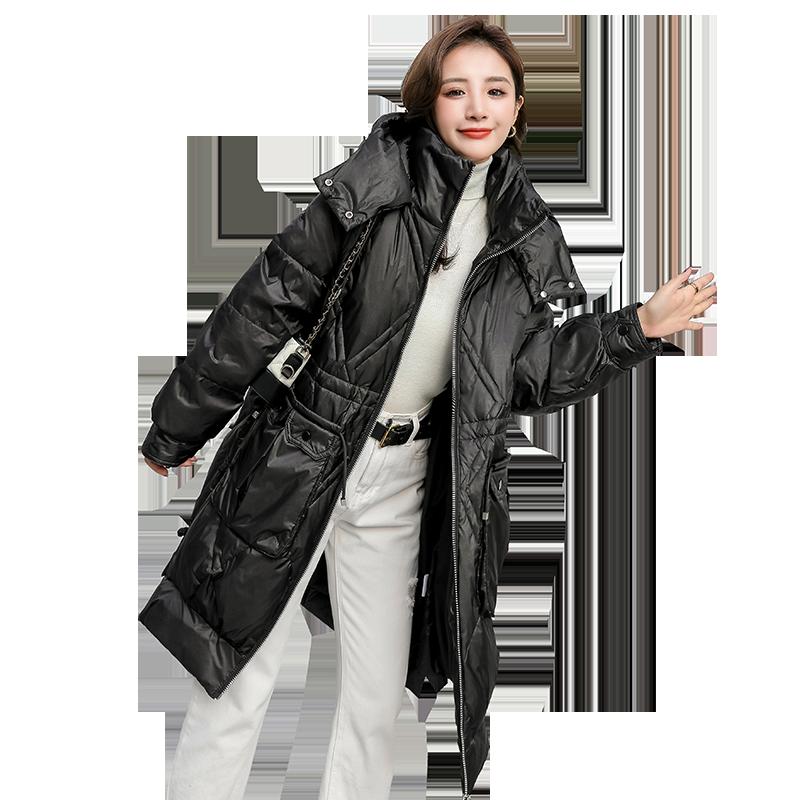 新款韩版白鸭绒加绒加厚长款羽绒服