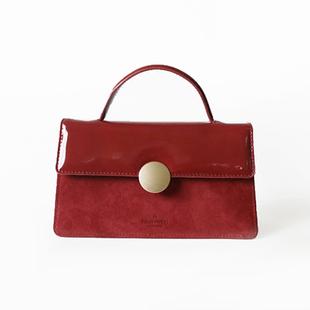 AbbottVINTAGE「紅絲絨」漆皮牛皮手提包婚包單肩斜挎包復古女包