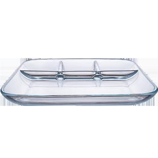 歐菲斯鋼化玻璃分格餐盤菜盤早餐水果盤西餐牛排盤分隔餐具餃子盤