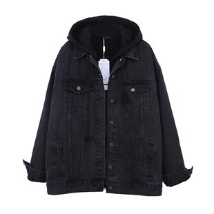 秋冬情侶bf加絨棉衣黑色連帽牛仔外套衣女寬鬆顯瘦仿羊羔絨內裏