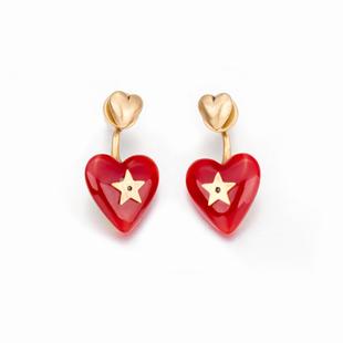 奧米迪奧情人節紅心愛心星星氣質耳釘韓國個性時尚星星四季款耳環