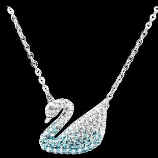 Swarovski施華洛世奇正品漸變藍天鵝項鍊 精緻簡約女士水晶鎖骨鏈