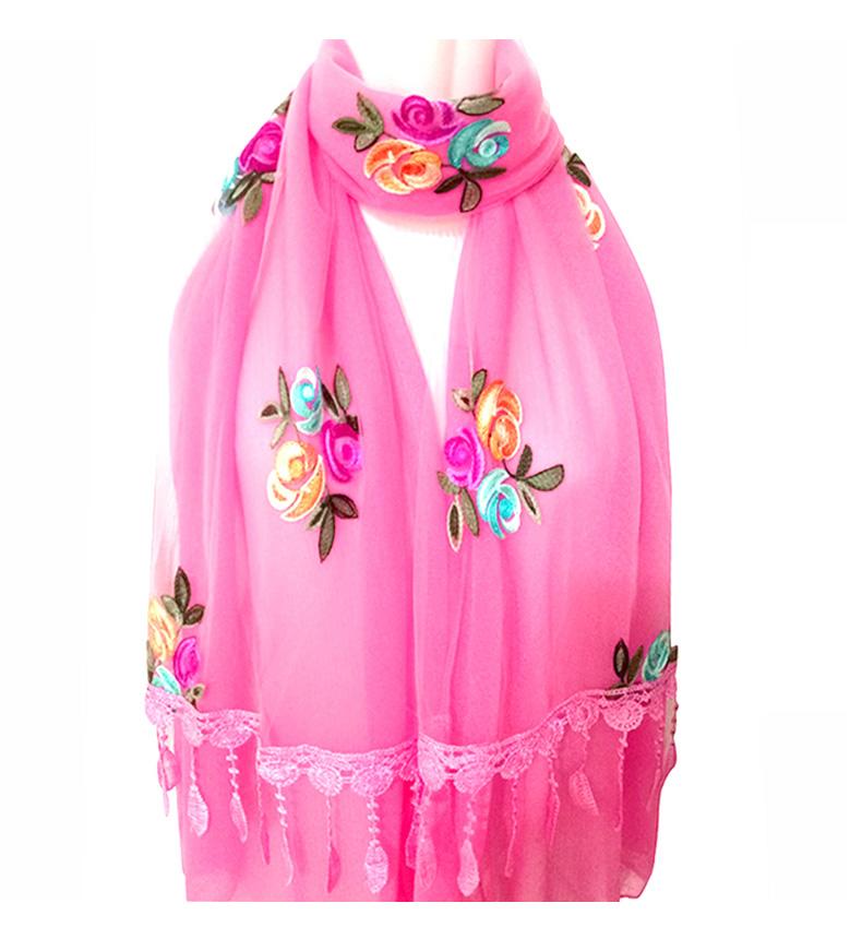 春秋围巾女韩版女士刺绣花朵双层拼接纯色民族风纱巾夏 FfXeQWfe