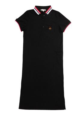 欧洲站2021夏季新款小狗刺绣POLO领T恤衫宽松显瘦中长款连衣裙女