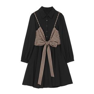 【現貨】VEGA CHANG黑色顯瘦連衣裙套裝女秋新款閨蜜裝襯衫裙子女