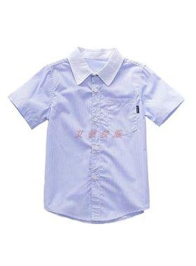 艾顿同款国际英伦风湖蓝色衬衫 儿童纯棉长袖短袖衬衫校服