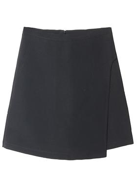 2021秋季新款高腰显瘦不规则a字半身裙子 黑色防走光百搭短裤裙女
