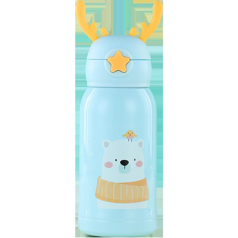 喵小米儿童鹿角保温杯带吸管方便外出携带男女孩婴儿宝宝喝水杯子